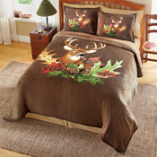 Northwoods Deer Fleece Bedroom Coverlet - 26011