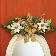 Butterfly & Poinsettia Holiday Floral Swag - 26213