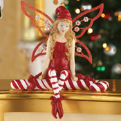 Candy Cane Christmas Angel Fairy Figurine