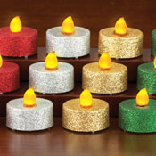 LED Multi Color Glitter Holiday Tealights - Set of 12 - 26307
