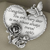 Travel Safely Pewter Heart Visor Clips - 26337