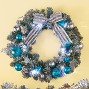 Lighted Christmas Glitter Snowflake Wreath