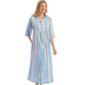 Pastel Striped Zip Front Lounger - 26814