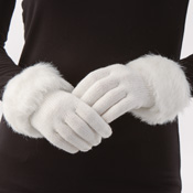 Foxy Faux Fur Trimmed Knit Gloves - 26914