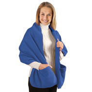 Fleece Wrap Shawl with Pockets - 26926