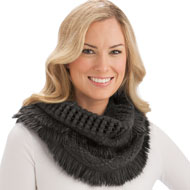 Soft Winter Infinity Fringe Scarf
