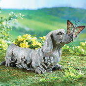 Dachshund with Butterfly Sculpted Garden Planter - 27283
