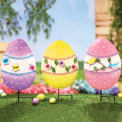 Floral Easter Egg Garden Stakes - Set of 3
