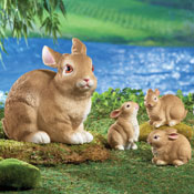 Mama Rabbit and Bunnies Garden Statues - Set of 4 - 27904