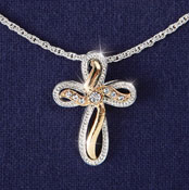 Two Tone Cross Jewelry Necklace Pendant - 28334