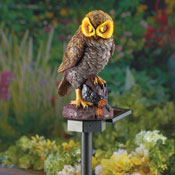 Hooting Brown Owl Solar Garden Stake