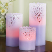 LED Embossed Flameless Candles - Set of 3 - 28550