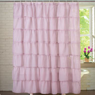 Ruffled Sheer Bathroom Shower Curtain - 28608