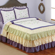 Leila Embroidered Floral Ruffled Bedspread