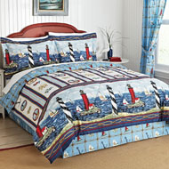 Nautical Bar Harbor Lighthouse Comforter Set - 28868