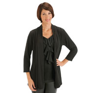 Open Front V-Neck Ruffle Cardigan
