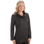 Sparkle Sequin Cowl Neckline Bell Sleeve Tunic - 29246