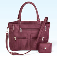 Zippered 6 Pocket Microfiber Handbag