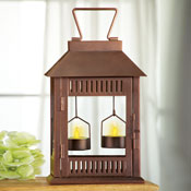 Lighted Bronze Tealight Lantern - 29720