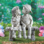 First Kiss Puppy Love Garden Sculpture - 29740