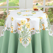 Embroidered Blossoming Butterfly Table Linens