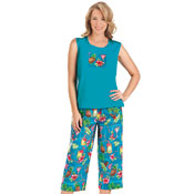 Sleeveless Tropical Tank and Capri Outfit Set - 29898
