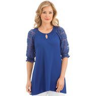 Lace Short Sleeve Knit Tunic Top