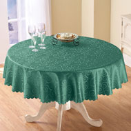 Solid Scroll Scalloped Edge Tablecloth
