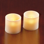 LED Flat Top Pillar Candles - Set of 2