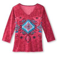 Southwestern V Neck Albuquerque Top - 31575