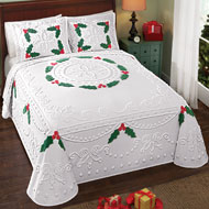 Holly Berry Chenille Christmas Bedspread - 31697