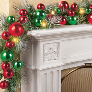 Lighted Colorful Ornament Wreath Garland - 31821