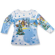 Sequined Winter Flurry Scene Top - 31913