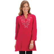 Embellished Neckline Long Sleeve Tunic