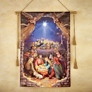 Lighted Nativity Scene Hanging Canvas