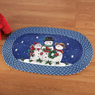 Happy Winter Snowmen Braided Rug - 32526