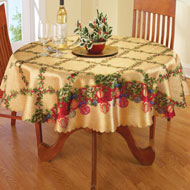 Holiday Lattice Holly & Ornament Tablecloth - 32547
