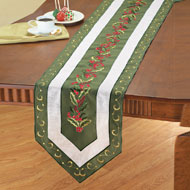Elegant Holly Berry Leaves Table Linens - 32596