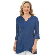 Asymmetrical Hem Gauze Tunic Top