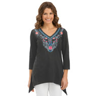 Embroidered V-Neck Waterfall Tunic Top - 32918