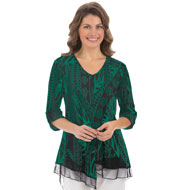 V-neck Mesh Trim Printed Tunic