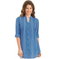 Printed Pintuck Button-Front Tunic