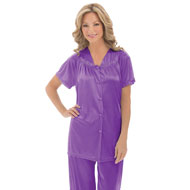 Floral Embroidery Tricot Pajama Set - 32944