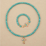 Turquoise Beaded Cross Necklace and Bracelet