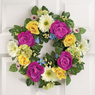 Yellow and Purple Rose Floral Wreath - 33337