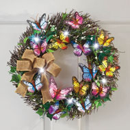 LED Lighted Butterfly Wreath - 33345