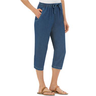 Denim Capris with Pockets and Elasticized Waist - 33362