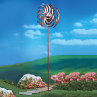 Double Pinwheel Wind Spinner with Solar Light