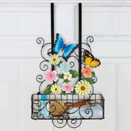 Over-the-door Butterfly Floral Hanging Storage Basket - 33451