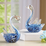 Glass Swan Figurines - Set of 2